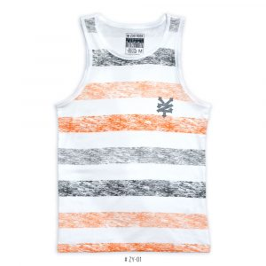 <b>Striped Colorblock Tank Top </b> <br>ZY-01 | Black/Orange