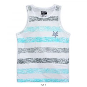 <b>Striped Colorblock Tank Top </b> <br>ZY-01 | Black/Turquoise
