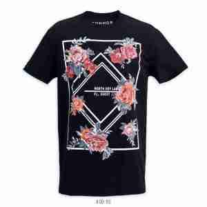 <b>Flower Print Graphic T-Shirt</b> <br>CO-112 | Black